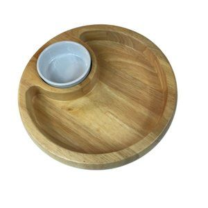 Round Wood Chip And Dip Bowl With Inset Dip Bowl